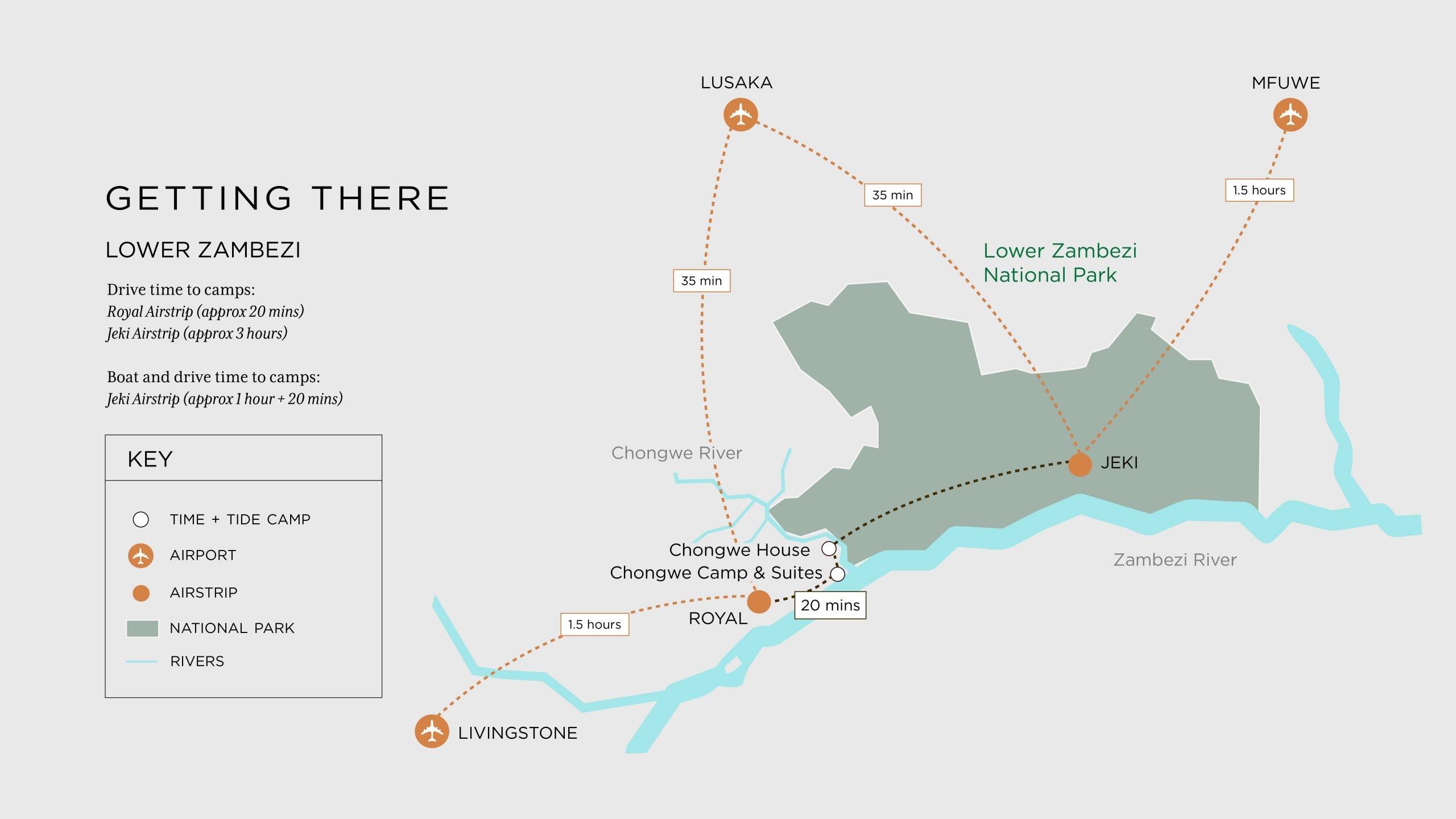 Lower Zambezi map